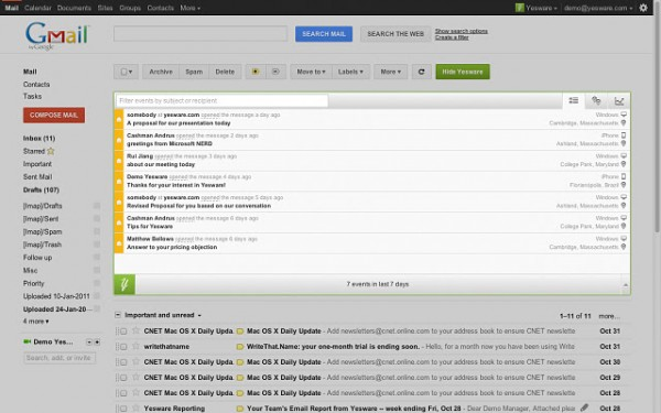 Yesware, extensión de Gmail para saber si leyeron tu mensaje.