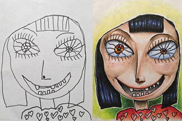 Collaborative Illustration by Tatsputin and his kids