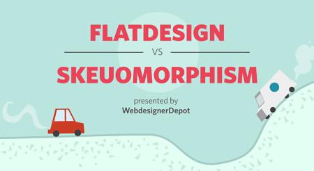 Una infográfica comparativa de el Flat Design vs. Skeumorphism